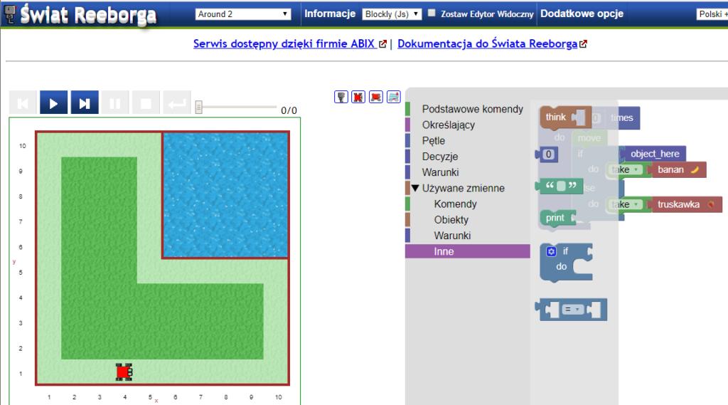 Warsztaty: Sterowanie robotem na ekranie - wersja Scratch/Blockly dla nauczycieli klas 4-6.